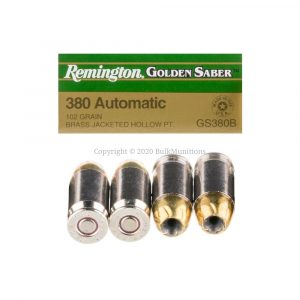 380 Auto – 102 Grain JHP – Remington Gold Saber (GS380B)