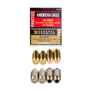 40 S&W - 180 gr FMJ-JHP - Federal Practice Defend - (PAE40180)