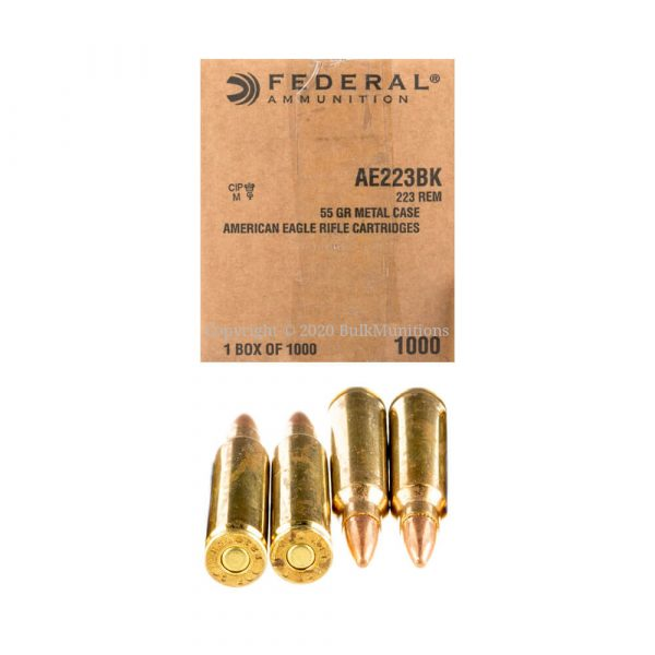 223 Rem - 55 gr FMJ-BT - Federal (AE223BK) - 1000 Rounds (Bulk Pack)