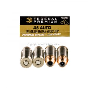 45 Auto - 165 gr Hydra Shok JHP - Federal (PD45HS3 H) - 500 Rounds