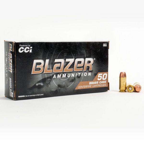 Blazer 5210 40 Smith & Wesson 165 Grain FMJ Box Front