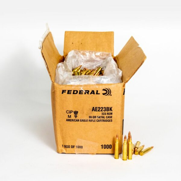Federal AE223BK 223 Remington 55 Grain FMJ-BT Ammo Box Side Top Open with Rounds