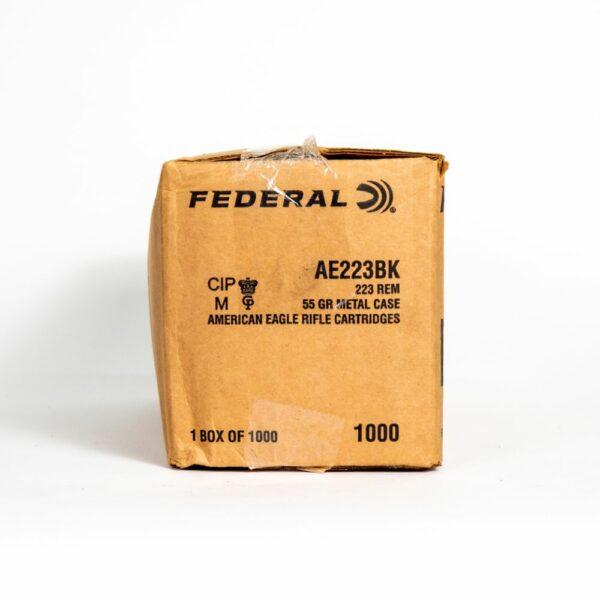 Federal AE223BK 223 Remington 55 Grain FMJ-BT Box Side