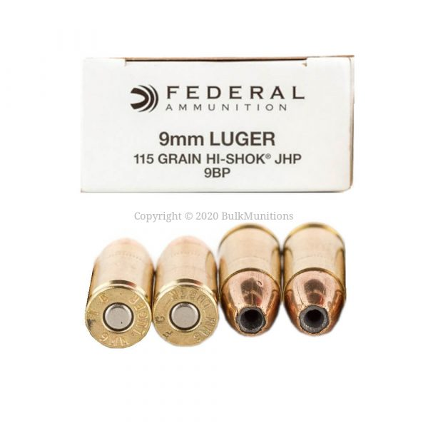 9mm - 115 gr JHP - Federal Hi-Shok (9BP)