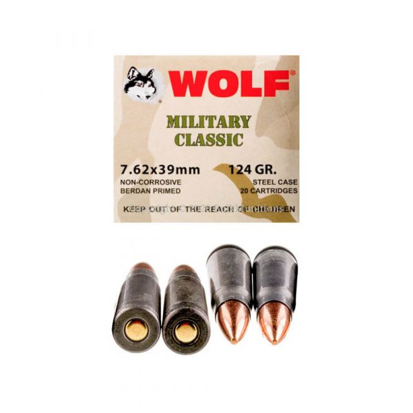 7.62x39MM 124 gr FMJ Steel Case Wolf Military Classic