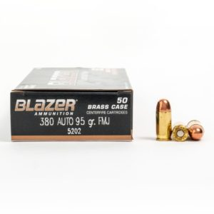 Blazer 5202 380 Auto 95 Grain FMJ Ammo Box Side