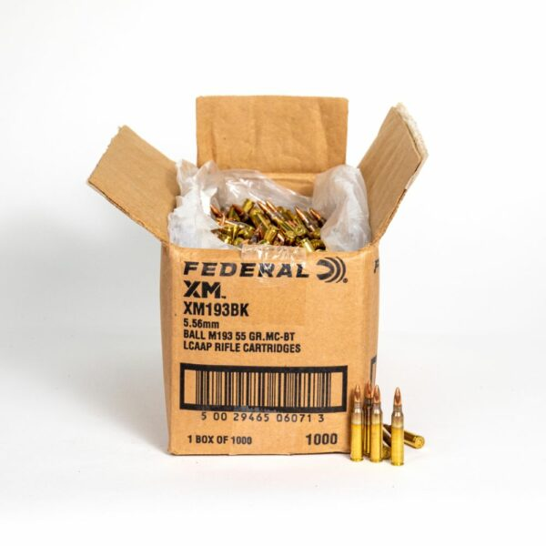 Federal XM193BK 5.56x45mm 55 Grain FMJ-BT Box Top Open with Rounds