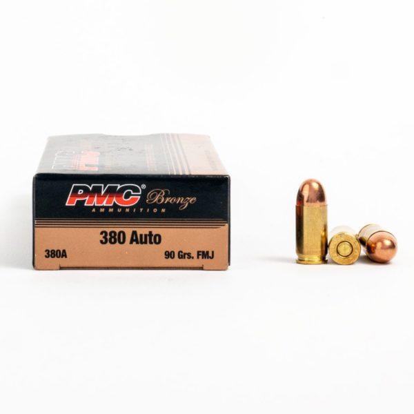 PMC 380A 380 Auto 90 Grain FMJ Ammo Box Side