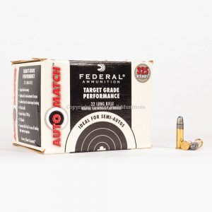 22 LR 40gr LRN Federal AutoMatch AM22 Ammo Box Front with Rounds