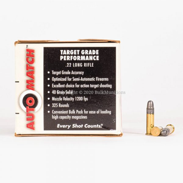 22 LR 40gr LRN Federal AutoMatch AM22 Ammo Box Side with Rounds