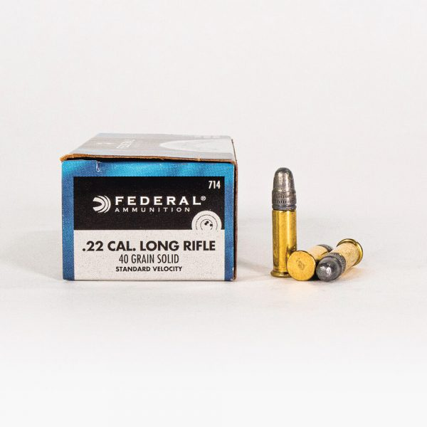 22 LR 40gr LRN Federal Champion 714 Ammo Box Side with Rounds