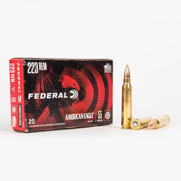 223 Rem 55gr FMJ Federal American Eagle AE223 Ammo Box Front with Rounds