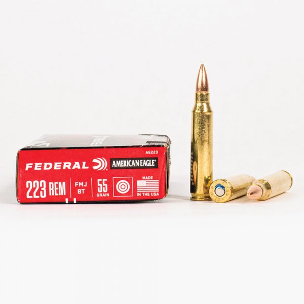 223 Rem 55gr FMJ Federal American Eagle AE223 Ammo Box Side with Rounds