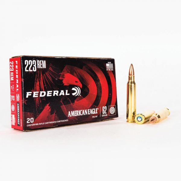 223 Rem 62gr FMJ Federal American Eagle AE223N Ammo Box Front with Rounds