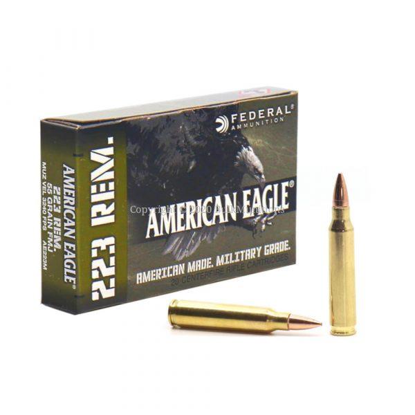 223 rem 55gr fmj - federal american eagle military grade ammo ae223m