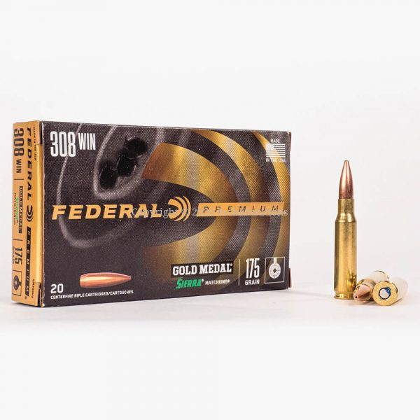 308 Win 175gr OTM Federal Sierra Match King GM308M2 Ammo Box Front with Rounds