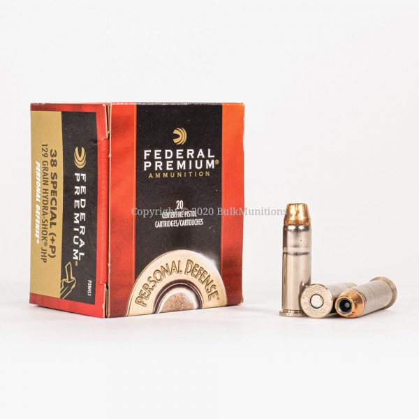 38 Special +P 129gr JHP Hydra-Shok Federal P38HS1 Ammo Box Front with Rounds