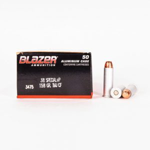 38 Special +P 158gr FMJ CF Blazer CleanFire 3475 Ammo Box Side with Rounds