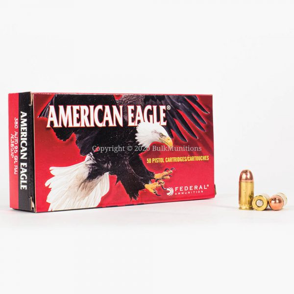 380 ACP 95gr FMJ Federal American Eagle AE380AP Ammo Box Front with Rounds