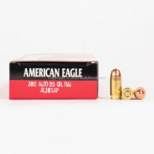 380 ACP 95gr FMJ Federal American Eagle AE380AP Ammo Box Side with Rounds