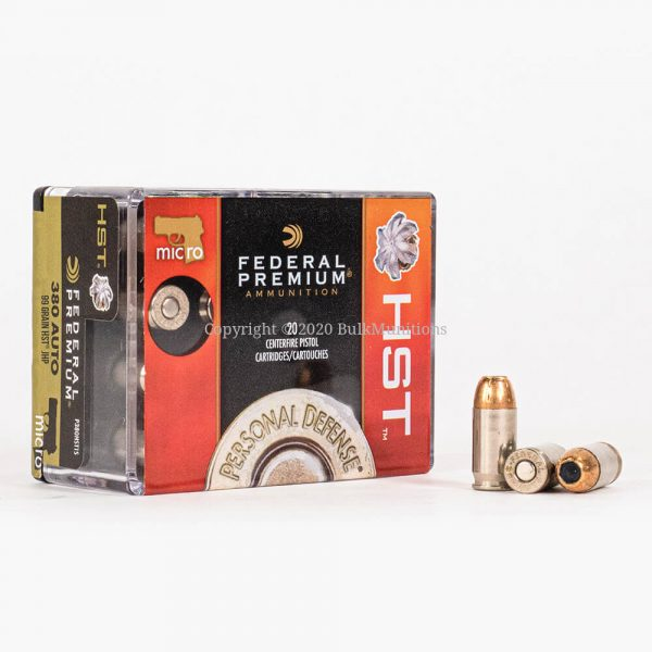 380 ACP 99gr HST JHP Federal Micro P380HST1S Ammo Box Front with Rounds