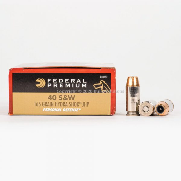 40 SW 165gr JHP Hydra-Shok Federal PD P40HS3 Ammo Box Side with Rounds