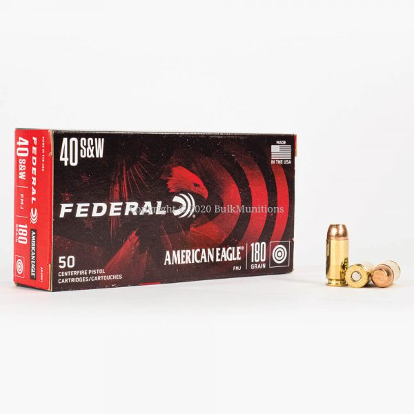 40 SW 180gr FMJ Federal American Eagle AE40R1 Ammo Box Front with Rounds