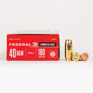 40 SW 180gr FMJ Federal American Eagle AE40R1 Ammo Box Side with Rounds
