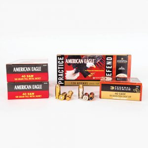 40 SW 180gr FMJ JHP Combo Pack Federal PAE40180 Ammo Master Case and Box Fronts with Rounds