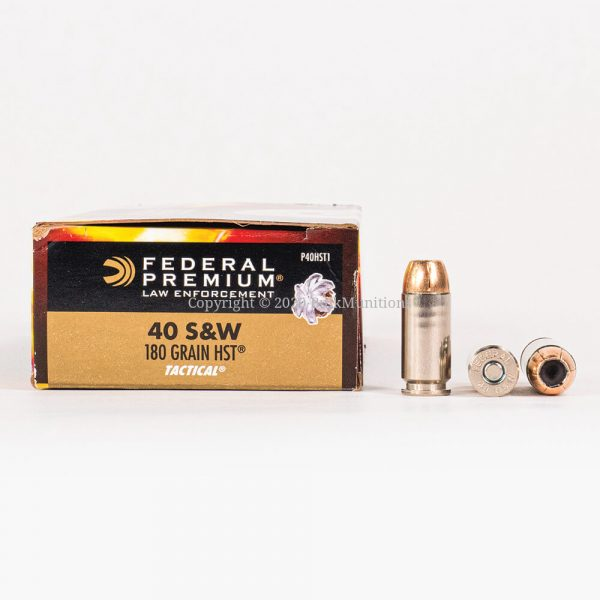 40 SW 180gr JHP HST Federal LE P40HST1 Ammo Box Side with Rounds