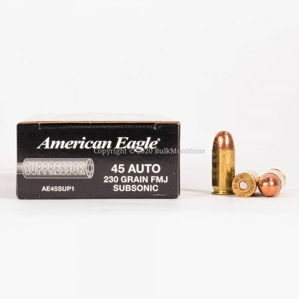 45 ACP 230 gr Federal American Eagle Suppressor AE45SUP1 Ammo Box Side with Rounds