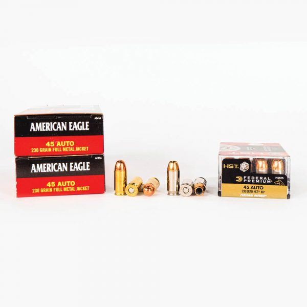 45 ACP 230gr FMJ HST JHP Combo Pack Federal PAE45230HST Ammo Box Sides with Rounds