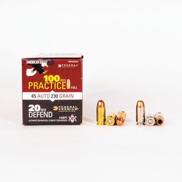 45 ACP 230gr FMJ HST JHP Combo Pack Federal PAE45230HST Ammo Master Case Side with Rounds