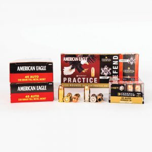 45 ACP 230gr FMJ HST JHP Combo Pack Federal PAE45230HST Ammo Master Case with Box Fronts with Rounds