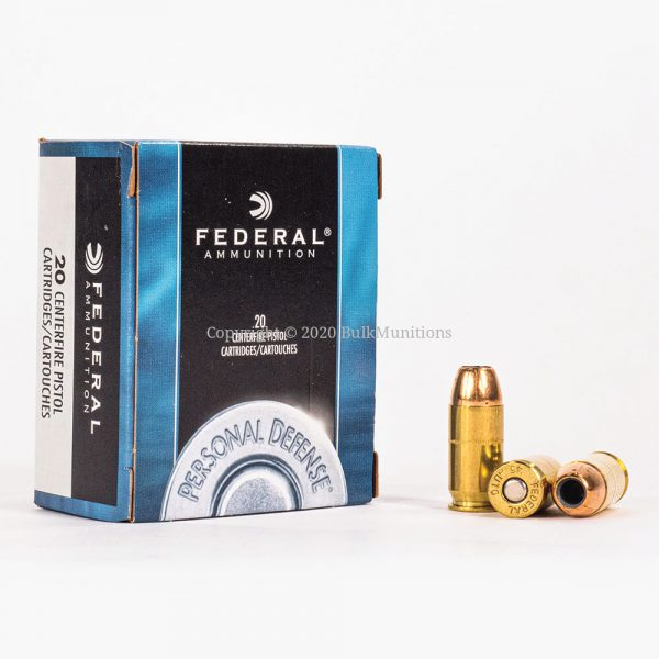 45 ACP 230gr JHP Federal PD C45D Ammo Box Front with Rounds