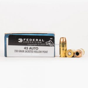 45 ACP 230gr JHP Federal PD C45D Ammo Box Side with Rounds