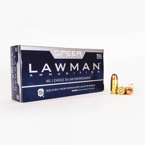 45 ACP 230gr TMJ Speer Lawman CleanFire 53885 Ammo Box Front with Rounds