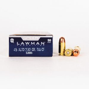 45 ACP 230gr TMJ Speer Lawman CleanFire 53885 Ammo Box Side with Rounds
