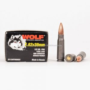 762x39mm 122gr FMJ Wolf WPA Steel Case Ammo Box Side with Rounds