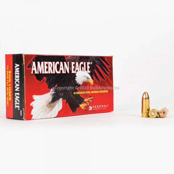 9mm 115 gr Federal American Eagle AE9DP Ammo Box Front with Rounds