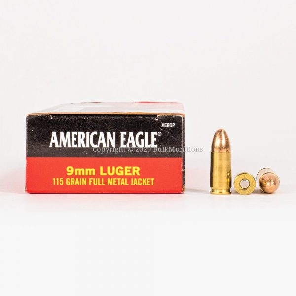 9mm 115 gr Federal American Eagle AE9DP Ammo Box Side with Rounds