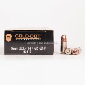 9mm 147gr JHP Speer Gold Dot 53619 Ammo Box Side with Rounds