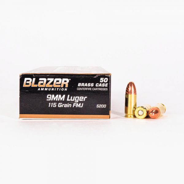 9mm Luger 115gr FMJ Blazer Brass 5200 Ammo Box Side with Rounds