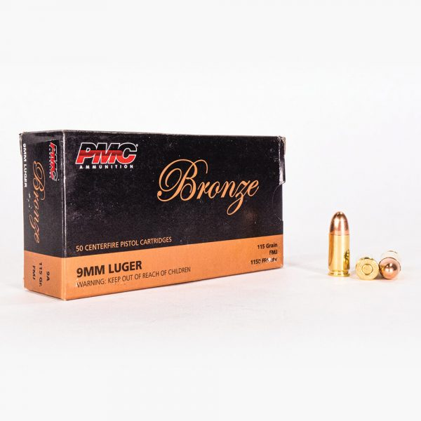 9mm Luger 115gr FMJ PMC Bronze 9A Ammo Box Front with Rounds