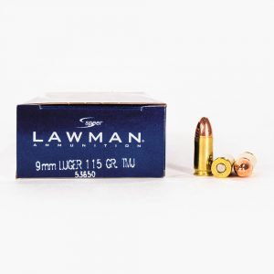 9mm Luger 115gr TMJ Speer Lawman 53650 Ammo Box Side with Rounds
