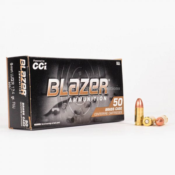 9mm Luger 124gr FMJ CCI Blazer Brass 5201 Ammo Box Front with Rounds