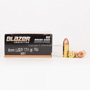 9mm Luger 124gr FMJ CCI Blazer Brass 5201 Ammo Box Side with Rounds