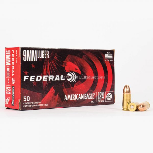 9mm Luger 124gr FMJ Federal American Eagle AE9AP Ammo Box Front with Rounds