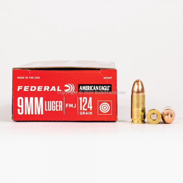 9mm Luger 124gr FMJ Federal American Eagle AE9AP Ammo Box Side with Rounds