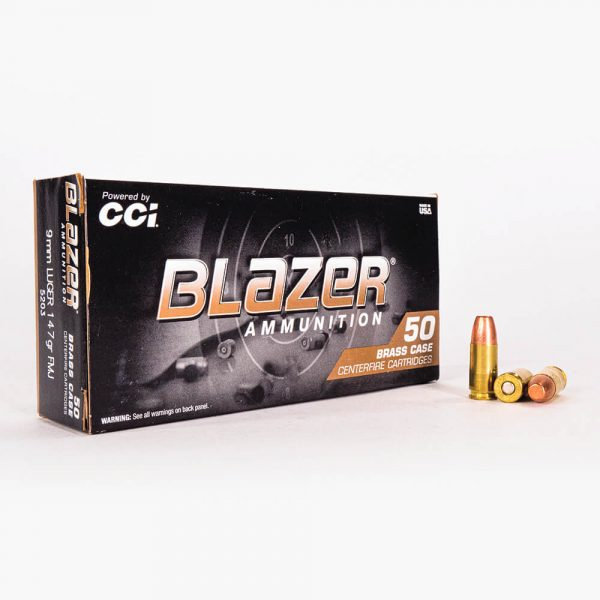 9mm Luger 147gr FMJ Blazer Brass 5203 Ammo Box Front with Rounds